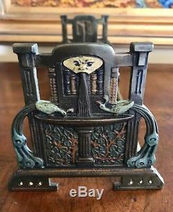 Genuine RARE Antique Painted Cast Iron Judd Mfg Book Rack Art Nouveau Original
