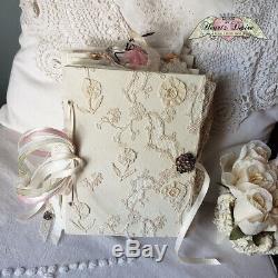 Handmade Antique Lace Embellished Junk Journal Vintage Ephemera Beautiful Art