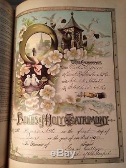 Holy Bible Antique Parallel RARE Edition Pictorial Family Leather c1892
