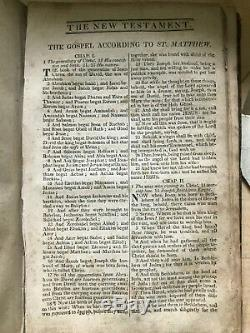 King James 1815 Bible Antique! Super Rare! Vintage Leather Bound Complete
