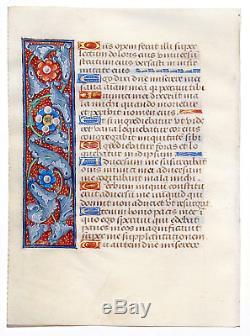 MEDIEVAL ILLUMINATED MANUSCRIPT BOOK OF HOURS LEAF c. 1490 GOLD, RARE BORDERS