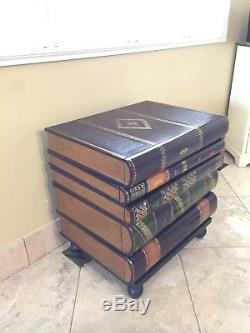 Maitland Smith Stacked Leather Books Form End Table with5 Drawers Rare