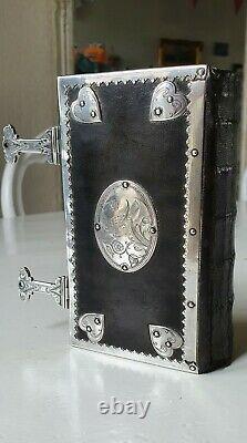 Old & rare Huguenot Bible & Psalm book with beautiful silverwork, 1716