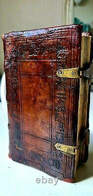 Old & rare book, 1627 in'Rennaissance' binding with images of David & Goliath