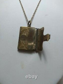 Picture Locket Book Form Antique Victorian 10-12K Gold Filled c1860 Rare