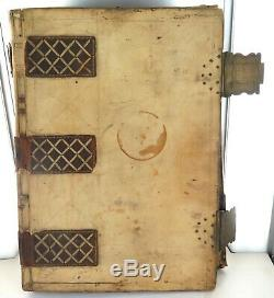 RARE 1600s / 1700s HUGE VELLUM, LEATHER & BRASS DOCUMENT DEED FOLDER FILE