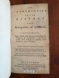 RARE 1773 Introduction to History & Antiquities of SCOTLAND, Goodall, Scottish