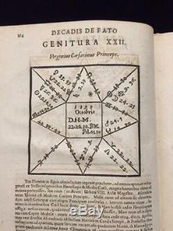RARE 17th century Antique Astrology Book vellum plates 1665 Comitis De Flisco