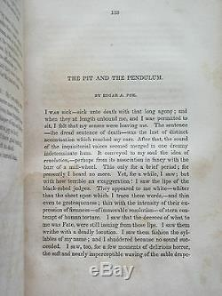 RARE 1843 Pit and the Pendulum FIRST PRINTING Edgar A POE Leather Book Horror