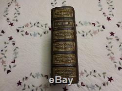 RARE 1874 Antique LEATHER Family BIBLE DOUAY & RHEIMS Catholic Latin Vulgate