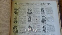 RARE 1895 Antique Vintage Webster's Internationl Dictionary Subscription Edition