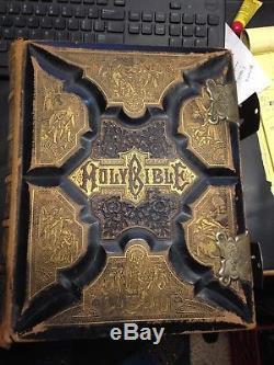 RARE 1898 Antique LEATHER Family BIBLE GATELY & FITZGERA THE KING JAMES