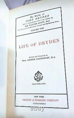 RARE #22/ 26 Cambridge Edition Dryden 5 Vol Antique Leather Stamped Fine Binding
