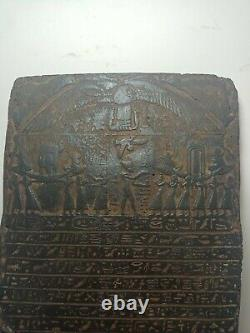 RARE ANTIQUE ANCIENT EGYPTIAN Stela Book of Dead Funeral Boat God Horus 1425 Bc