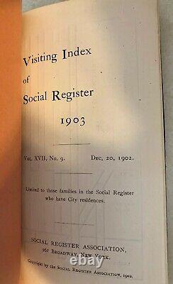 RARE ANTIQUE SOCIAL REGISTER Association New York Visiting List 1903 Society