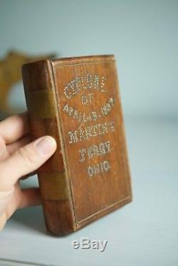 RARE Antique 1880s Folk Art AAFA Solid Wood Book Cyclone Martins Ferry Ohio 1887