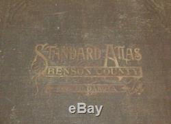 RARE Antique 1910 North Dakota Atlas Maps Advertising, Benson County Towns
