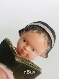 RARE Antique Doll Vintage Rubber Squeak Toy Girl Reading Book Made in France
