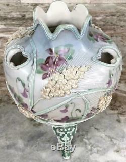RARE Antique Moriage Flower frog vase wheat violets BOOK PIECE Noritake extra ra