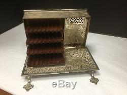RARE Antique Music Box Fancy Silver Renaissance Book Musical Cigarette