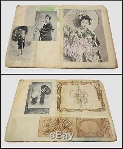 RARE Antique Victorian Japanese Scrapbook Manuscript Book Album Prints Ukiyo-e