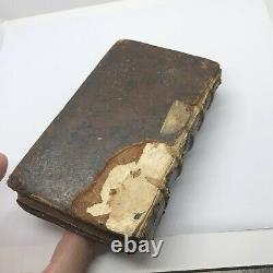 RARE Authentic 1667 Leather Bound French Book Paris Antique Decor Display Old