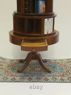 RARE Dollhouse Miniature BESPAQ Rotating Bookcase Shelf 4 Tier + Books + Rug