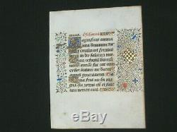 RARE Illuminated Manuscript Vellum Book of Hours Leaf with Beautiful Gold, c. 1460
