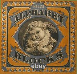 RARE LATE 19TH C AMERICAN ANTIQUE HILL'S ALPHABET BLOCKS NO 11 WithHNGD BOOK COVER