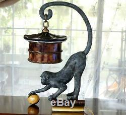 RARE Maitland Smith Bronze Monkey Table Lamp Leather Book Penshell Shade Antique