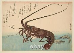 RARE Original Japanese Woodblock Print -1832 Hiroshige -Lobster & Prawn + Book