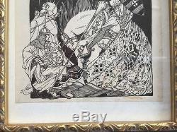 RARE VTG 1925 antique RUDOLF VALENTINO BOOKPLATE Artist Signed William Menzies