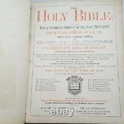 RARE Vintage 1800s Antique HOLY BIBLE Leather Bound Gold Embossed Illustrated