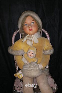 RARE Vintage Deans Rag Book Doll Cloth Miss Muffet ca 1930s Big 39
