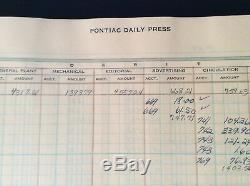 RARE Vtg 1950 Antique Leather Corduroy PONTIAC DAILY PRESS Newspaper Ledger MICH