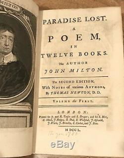 RARE c1790 PARADISE LOST John Milton, NEWTON- 2nd Edition Antique Book WOW