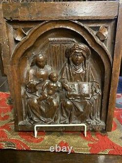 Rare 16thCentury Oak Carved Panel Cupboard Door Saint Anne Reading A Book 1580c