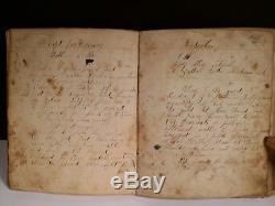 Rare! 1839-70's Handwritten Cookbook Cake Baking Cloth Color Recipes Book Ledger