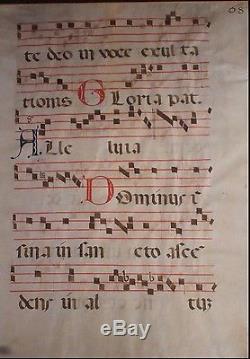 Rare 26 Double Sided Antique Antiphonel Vellum Music Sheet Latin Religious