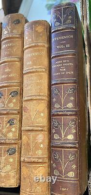 Rare 26 Volume 1902 Robert Louis Stevenson Antique Book Set Leather Bound