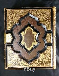 Rare Antique 1871 Old & New Testament Gauffered Gilted Unused Family Bible Brass