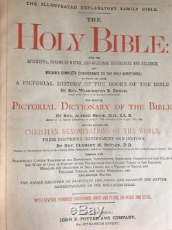 Rare Antique 1880 Leather Family Pictorial Bible Gilt Edge Clasp Philadelphia