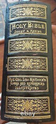 Rare Antique 1884 Catholic Family Bible Haydock Douay Rheims