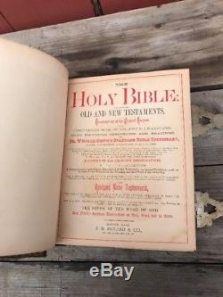 Rare Antique 1884 Leather Family Pictorial Bible Gilt Edge Clasp JS Round Boston