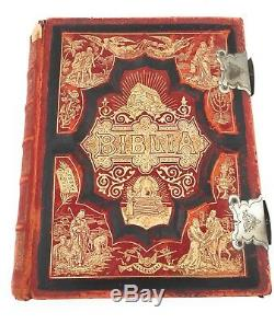 Rare Antique 1890 Finnish Vintage Bible Biblia with Illustrations by Gustave Dore
