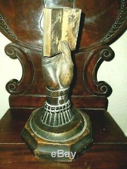Rare Antique 18th Century Slavery Carved Wood Hand & Book On A Swivel Base C1750