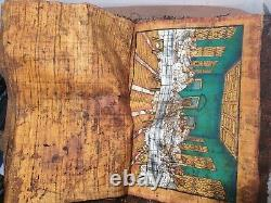 Rare Antique Ancient Egyptian Coptic Book 8 Papyrus Jesus + Mother Mary 18 AD