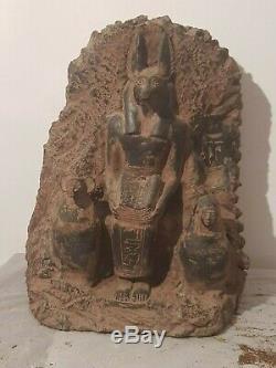 Rare Antique Ancient Egyptian Statue God Anubis BOOK Dead Canopic Jar1860-1780BC