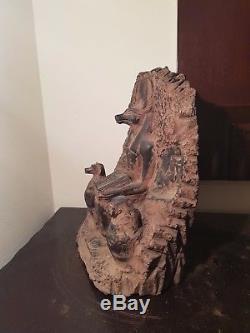 Rare Antique Ancient Egyptian Statue God Anubis Book Dead+Canopic jar13861349BC