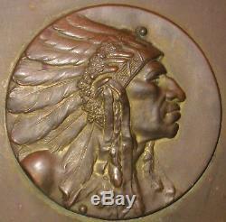 Rare Antique Bookends Robbins Co Attleboro Mass Indian Chief Medallion Medal